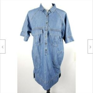 Banana Republic Chambray Shirt Dress S Pockets